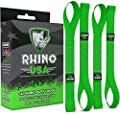 RHINO USA Soft Loops Motorcycle Tie Down Straps (4pk) - 10,427lb Max Break Strength 1.7? x 17? Heavy Duty Tie Downs for use with Ratchet Strap - Secure Trailering of Motorcycles, Kayak, Jeep, ATV, UTV from Rhino USA
