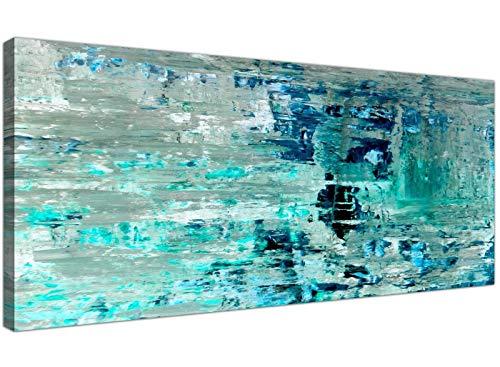 NOBRAND Cuadro sobre Lienzo Turquesa Verde Azulado Pintura Abstracta Pared Arte impresión Lienzo Arte Moderno Pintura decoración del hogar 60x150 cm (23.6x59.1 Pulgadas) sin Marco