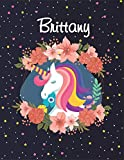 Brittany: Unicorn Blank Lined Journal Notebook For Girls | Primary Story Journal , 8,5 x11 , 120 Pages Cute Unicorn Notebooks | Grades K-2 Composition School Exercise Book