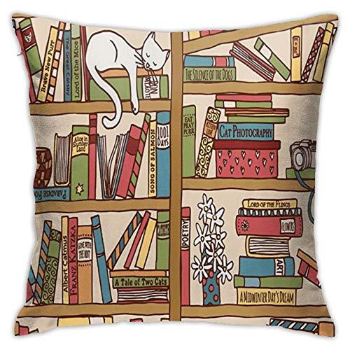 Nerd Book Lover Kitty Sleeping Over Bookshelf in Library Fundas de almohada Nerd Book Lover Kitty Sleeping Over Bookshelf in Library Funda de almohada de lujo con cremallera Fundas de almohada para ro