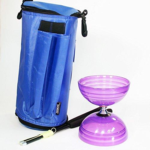 Sundia Shining Triple Bearing Diabolo Gift Set - Crystal Purple - Includes Zeekio Carry Bag and Zeekio Carbon Fiber Sticks