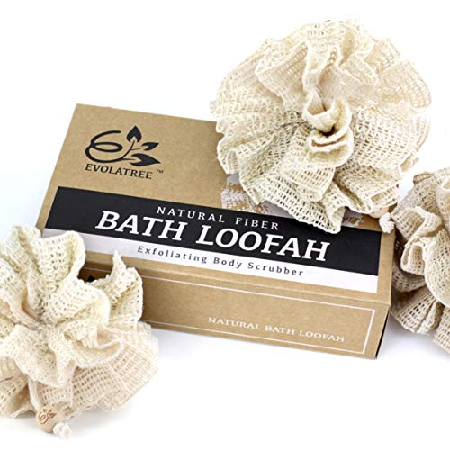 Evolatree Bath & Shower Loofah Sponge - Eco Friendly Natural Exfoliating Body Scrubber - 3 Pack