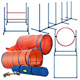 CHEERING PET Deluxe Dog Agility Training Equipment Set, 2 Dog Jump, Hurdle, Blind and Standard Tunnel and Weave Poles, Premium Dog Agility Exercise Set with Easy Carry Case