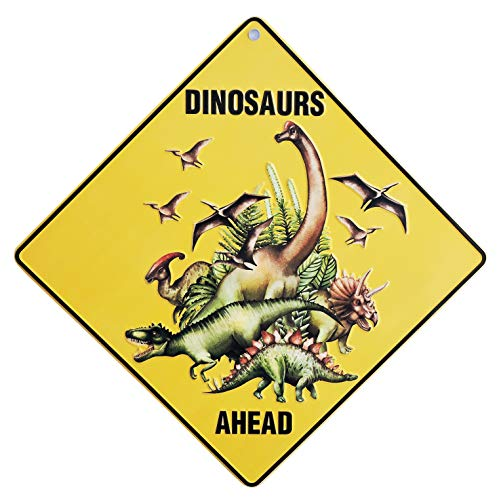 Dinosaur Decor: 2 in 1 Dinosaur Party Supplies and Dinosaur Room Decor for Boys. Decorate Entrance to Party or Kids Room with These Dinosaur Decorations. Includes Dino Sign and Dinosaurs Wall Decals