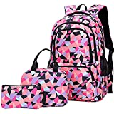 Veiai Travel Laptop Backpack Anti-Theft School Bookbags Water-Resistant Pattern Schoolbag with Lunch Bag(Black)