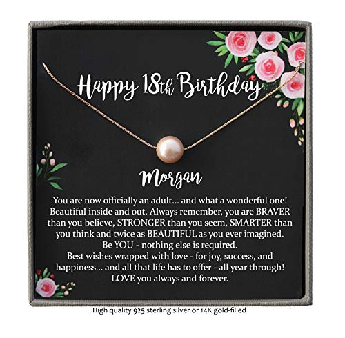 Personalized 18th Birthday Gifts for Girls, Single Pearl Necklace with Meaningful Message, 14K Rose or Yellow Gold Filled or Sterling Silver