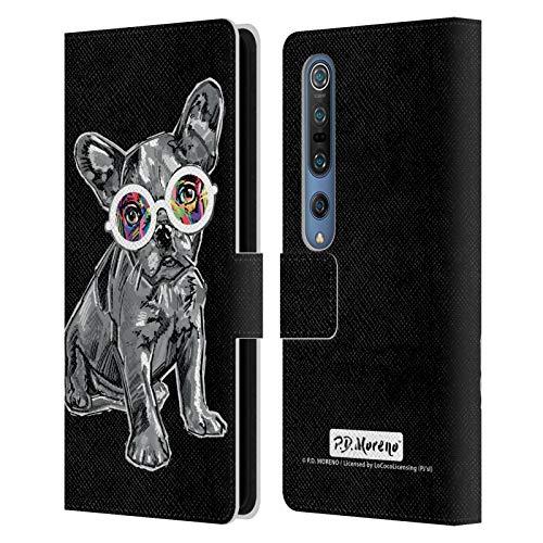 Head Case Designs Oficial P.D. Moreno Bulldog Francés Perros Blancos y Negros Carcasa de Cuero Tipo Libro Compatible con Xiaomi Mi 10 5G