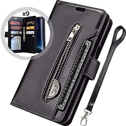 Kompatibel mit Huawei Mate 20 Lite Leder Hülle,URFEDA Handytasche Schutzhülle Tasche Case [ 9 Kartensteckplätze ] Reißverschluß Brieftasche Flip Ständer Magnetverschluss Klappehülle,Schwarz