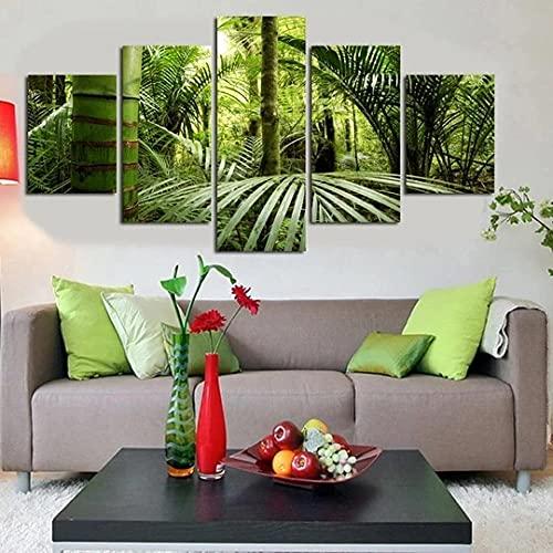 KOPASD Arte de Pared 5 Piezas Bosque Verde nórdico Impresión de Imagen en Lienzo para la Oficina Moderna Decoraciones hogar de la Imagen 20x35*2+20x45*2+20x55*1