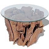 Festnight Couchtisch Kaffeetisch Coffeetisch mit Tischfuss aus Massives Teak-Treibholz Ideal als Beistelltisch Glas Tischplatte Durchmesser 60cm - 3