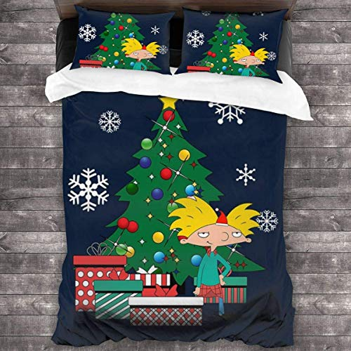 Jnsio Hey Arnold Around The Christmas Tree 3 Pieces Bedding Set Duvet Cover,Decorative 3 Piece Bedding Set with 2 Pillow Shams
