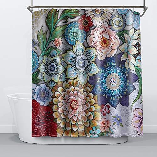NIBESSER Duschvorhang 180x180 Textil antischimmel Duschvorhänge Wasserabweisend Shower Curtain mit 12 Haken 3D Digitaldruck Grüne Pflanzen