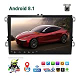 Car Stereo Double Din Android 8.1 Car Radio for VW Passat Golf Jetta T5 EOS Polo Tiguan Touran Seat Sharan Skoda 1G RAM 16G ROM Indash Head Unit 9' Touch Screen with GPS Navigation Bluetooth WiFi USB