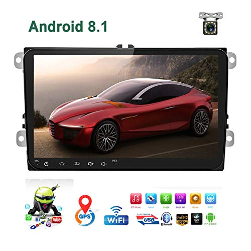 "Car Stereo Double Din Android 8.1 Car Radio for VW Passat Golf Jetta T5 EOS Polo Tiguan Touran Seat Sharan Skoda 1G RAM 16G ROM Indash Head Unit 9"" Touch Screen with GPS Navigation Bluetooth WiFi USB"
