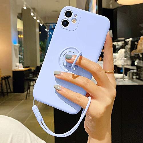 Pepmune Kompatibel mit iPhone X Handyhülle Silikon Case mit Ring Halter Slim Liquid Silikon Hülle mit Lanyard Silikonhülle mit innem Microfaser Tuch Case Cover für iPhone X, Lila