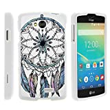 TurtleArmor | Compatible with LG Tribute Case | LG Optimus F60 Case | LG Transpyre Case [Slim Duo] Two Piece Hard Cover Slim Snap On Case on White - Dreamcatcher Feathers