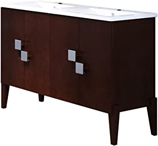 Bellaterra Home Double Wooden Sink Vanity, Walnut, 49