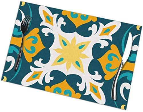 Sunwei bedrijf Placemats voor eettafel set van 6,Placemats voor eettafel set van 6Oriental Traditionele Sier,Mediterrane Naadloos Patroon, tafelkleed 45X30 CM