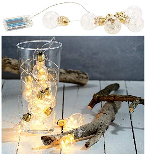 Lunartec Glühbirne mit Batterie: Party- & Deko-Lichterkette, 5 LED-Glühbirnen, Batteriebetrieb, 150 cm (Lichterkette Glühbirnen Batterie)