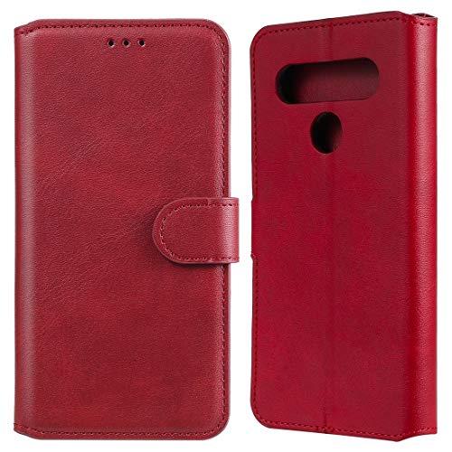 Caja del teléfono móvil para LG K61 Classic Becerta Texture PU + TPU Funda de Cuero Horizontal Flip, con Soporte y Slots de Tarjetas y Billetera (Color : Red)
