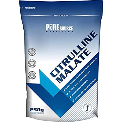 Pure Source Nutrition 100% Pure Citrulline Malate Powder 2:1 Ratio 250g Unflavoured Vegan Pump | Nitric Oxide from Pure Source Nutrition