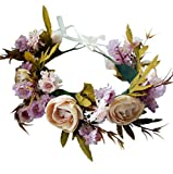 Rose Flower Crown Adjustable Flower Headband Hair Wreath Floral Headpiece Halo Boho with Ribbon Wedding Party Festival Photos Beige by Vivivalue