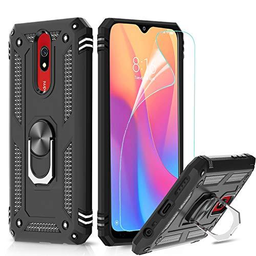 LeYi für Xiaomi Redmi 8 / Redmi 8A Hülle mit HD Folie Schutzfolie (2 Stück),360 Grad Ring Halter Handy Hüllen Cover Magnetische Bumper Schutzhülle für Case Xiaomi Redmi 8/Redmi 8A Handyhülle Schwarz