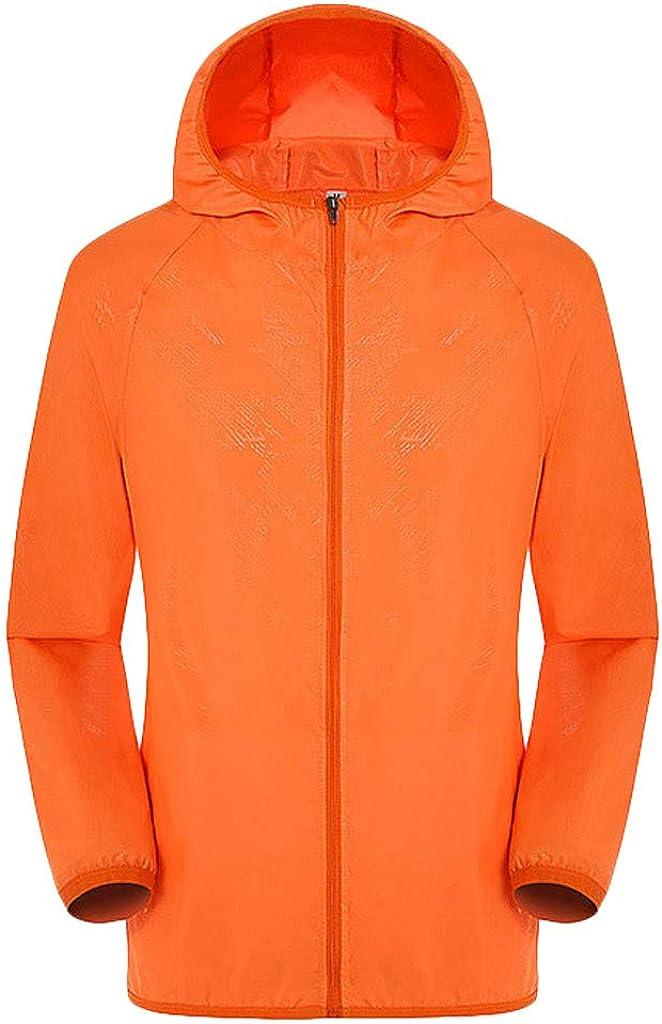 Men's Women Solid Color Outdoor Hiking Jacket with Hood Uv Protection Windproof Ultra-Light Rainproof Windbreaker Top Orange
