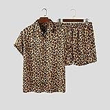 ZHFZHL Camisa para hombre, moda de verano, solapa, camisa de manga corta, pantalones cortos de playa, traje de verano para hombre (color: caqui, tamaño: código XXXXXL)