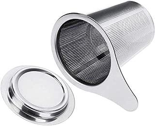 SODIAL フィルタステンレス鋼製醸造コンポーネントザル、エンドホール、ハンドル、フタが付属、マグマグカップTheiere- 6cm X 7.5cm
