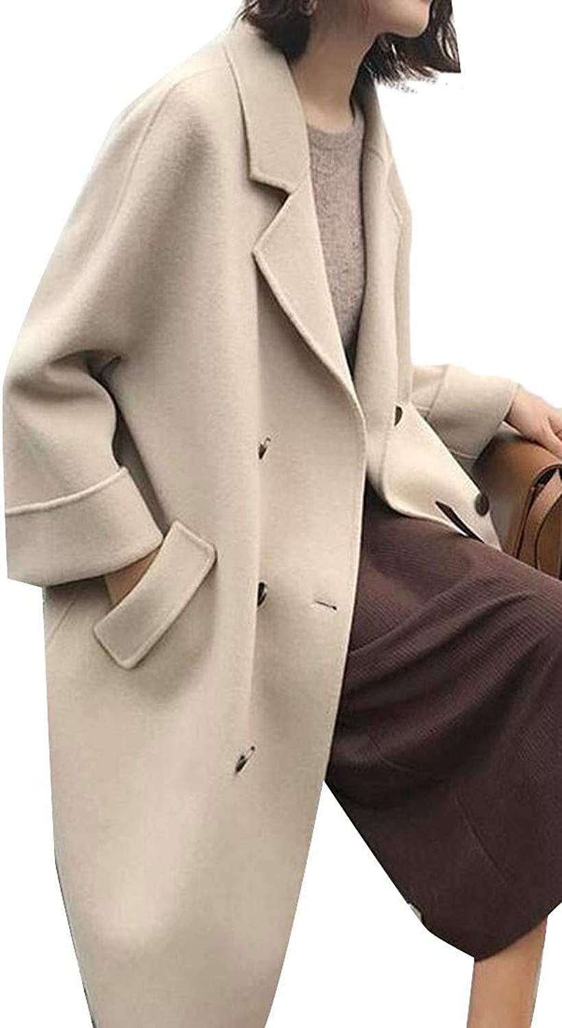 Agana Women's Lapel Long Jacket Woolen Double Breasted Fall Winter Trench Coat