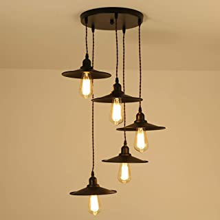 Ganeed Vintage Pendant Light, 5 Hanging Pendant Lights Industrial Black Finish Metal, Ceiling Lamp Fixture for Living Room...
