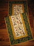 Table Runner with Birds, Chickadees and Pine Cones Mountain Table Runner, 13x48 inch, Quilted Reversible, Coffee Table Runner for Living Room, End Table Nightstand Runner, Cabin Rustic Table Decor
