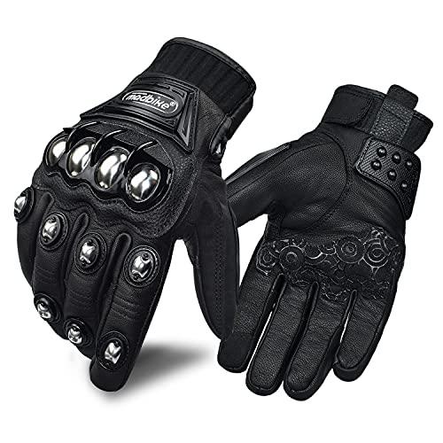 Guantes de cuero para motocicleta para hombres y mujeres, con pantalla táctil para moto Powersports (negro, grande)