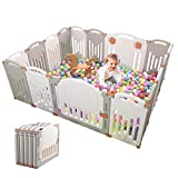 Baby Playpen Foldable 16 Panel Activity Center Safety Playard with Lock Door,Kid's Fence Indoor Outdoor,Free Installation,Double Layer Clasp and Anti-Slip Base for Children 10 Months~6 Years Old