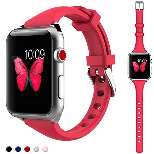 Kppto Cinturino di Ricambio Per Apple Watch da 42/44mm, Cinturino iWatch Sottile in Silicone da Donna per Serie di Apple Watch Serie4 3 2 1 Taglia S/M M/L (42/44mm, Rosso A)