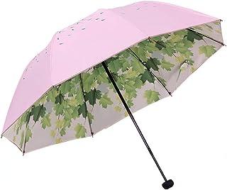 UVD二層ビニールパラソル、強い日焼け止め、保護用傘、折りたたみ式携帯用傘、雨と雨の傘 (Color : Pink)