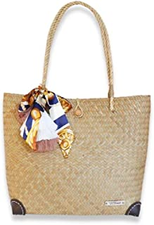 Damen Schultertasche Lepironia gewebte Handgemachte Sommer Strandtasche Naturtasche Einzigartiger Stil mit Seide und Pom Pom