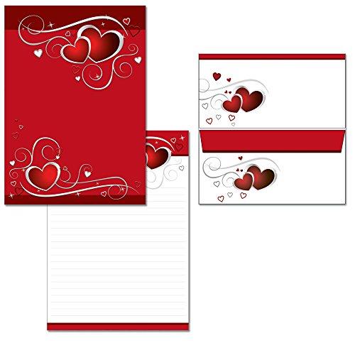 rote Herzen - 1 Schreibblock DIN A4 liniert + 15 Briefumschläge DIN lang 7440+6781F