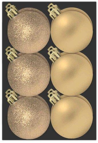 P&D Confezione Da 12 Champagne Bagattelle Di Sei Centimetri - Glitter E Finitura Opaca - Decorazione Albero Di Natale