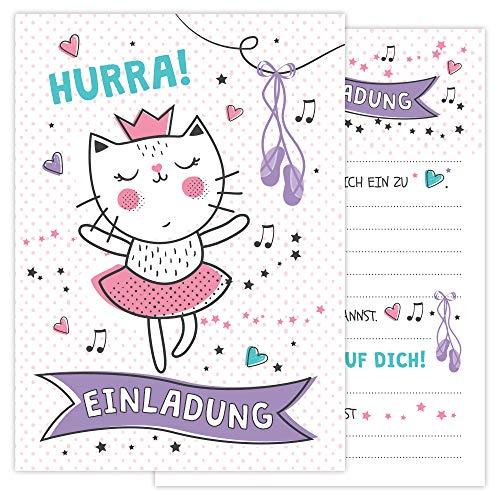 Einladungskarten Geburtstag Kinder inkl. Umschläge – 12 Einladungen für Mädchen zum selber beschriften – süße Geburtstagseinladungen mit rosa Katze Prinzessin für Kindergeburtstag