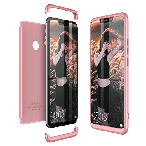 CE-Link Funda Huawei P Smart+ / Huawei P Smart Plus Carcasa Fundas para Huawei P Smart+ / Huawei P Smart Plus 360 Grados 3 en 1 Desmontable Ultra-Delgado Anti-Arañazos Case Protectora - Oro Rosa