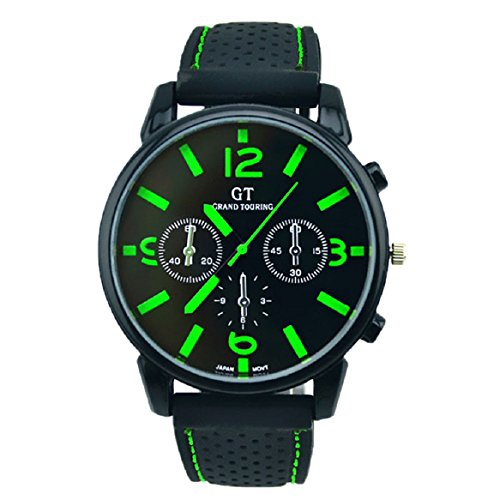 Chianrliu® Para Hombres Deporte Acero Inoxidable Reloj AnalóGico Pulsera Cuarzo Horas Frescas Moda Verde