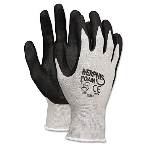 Memphis 9673S Economy Foam Nitrile Gloves, Small, Gray/Black, 12 Pairs