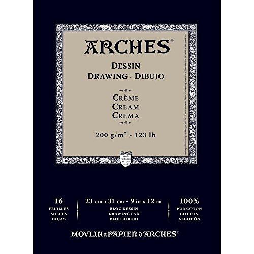 Arches 1795114 Dessin Zeichenpapier Block (23 x 31 cm, 180 g/m² Kopfgeleimt) 16 Blatt creme