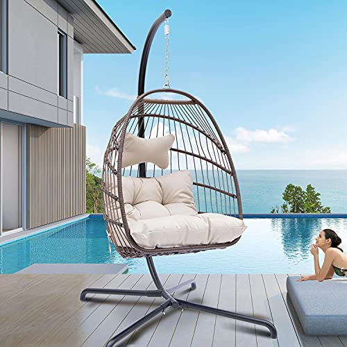 Bulexyard Swing Egg Chair with Stand Indoor Outdoor Wicker Rattan Patio Basket Hanging Chair with UV Resistant Cushions Aluminum Frame 350lbs Capaticy for Bedroom Balcony Patio (Beige)