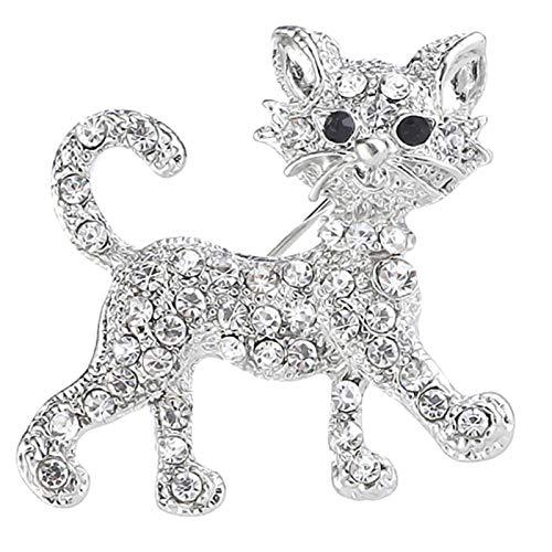 Brosche, süßer Dackel, mit Strass besetzt, Tierform, Rot Gr. Einheitsgröße, Silberne Katze