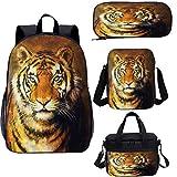 Tiger - Zaino da 17 pollici con astuccio portapranzo, stile pittura a olio animale 4 in 1 zaino set