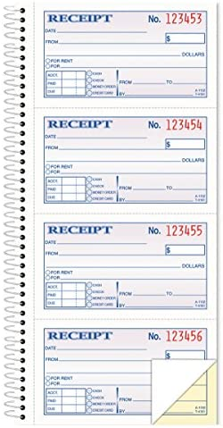 11 x 5.25 Inches 4 Receipts//Page 2-Part Carbonless Money//Rent Receipt Book White 200 Sets per Book