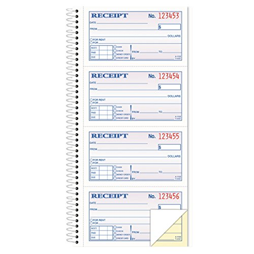 TOPS Money/Rent Receipt Book, 2-Part, Carbonless, 11 x 5.25 Inches, 4 Receipts/Page, 200 Sets per Book (4161) , White